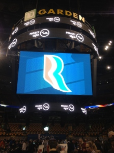 The jumbotron at TD Garden, where Project ORCA was hosted on Election Day.