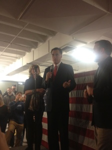Mitt Romney speaks to staffers at HQ following election loss.